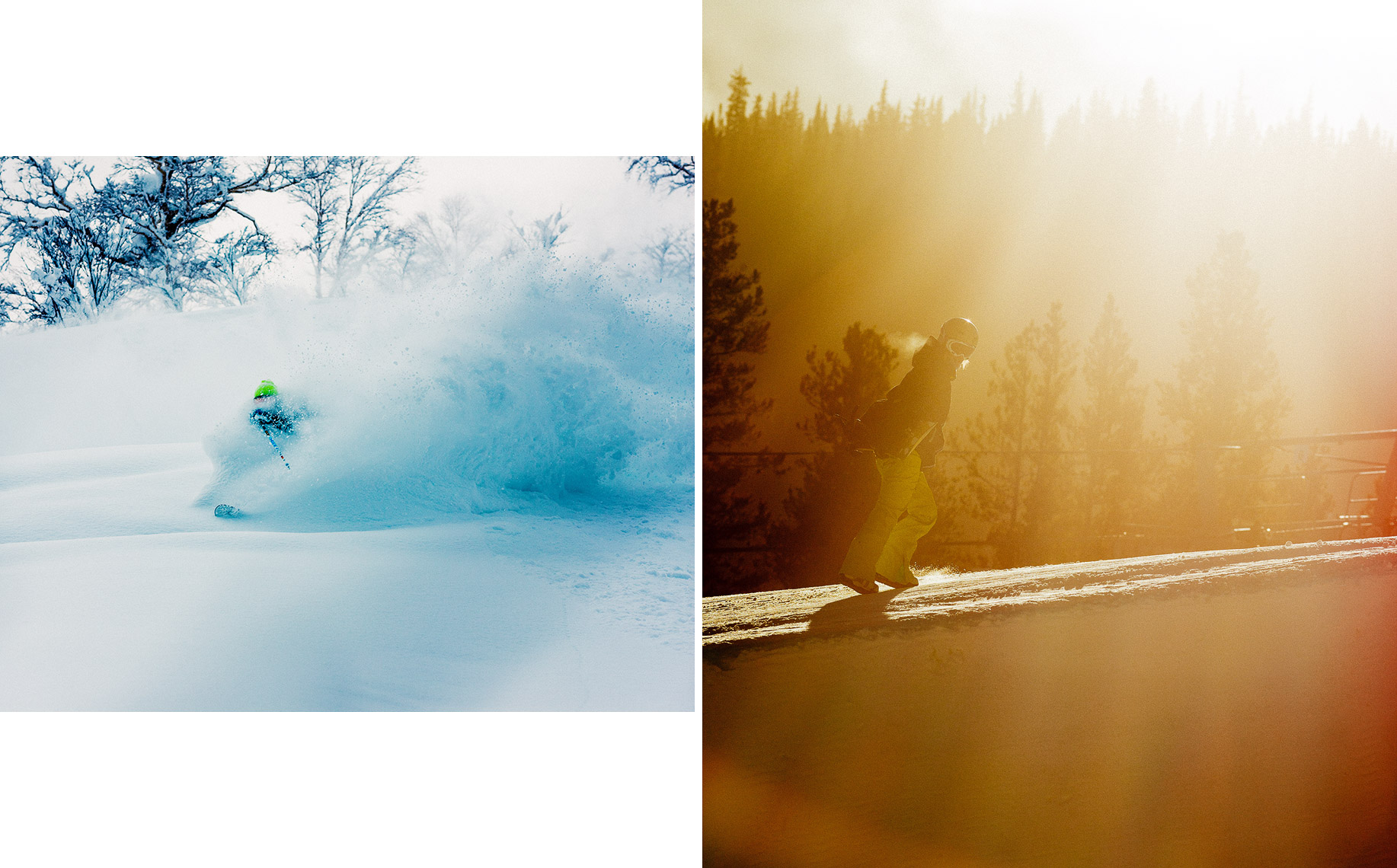 (L) Eric Pollard, Hokkaido, Japan. (R) Gretchen Bleiler. Copper Mountain, CO.