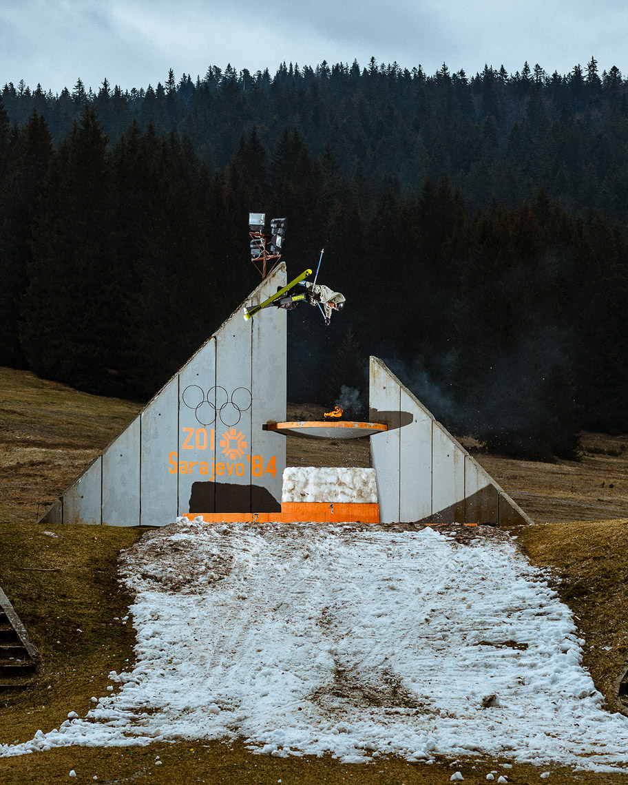 Joss Christensen skiing around Sarajevo, Bosnia & Herzegovina for Freeskier Magazine