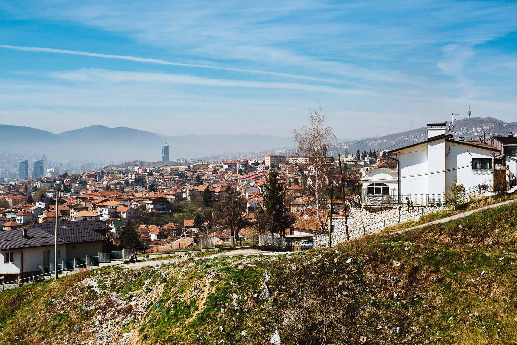 Karl Fostvedt skiing around Sarajevo, Bosnia & Herzegovina for Freeskier Magazine