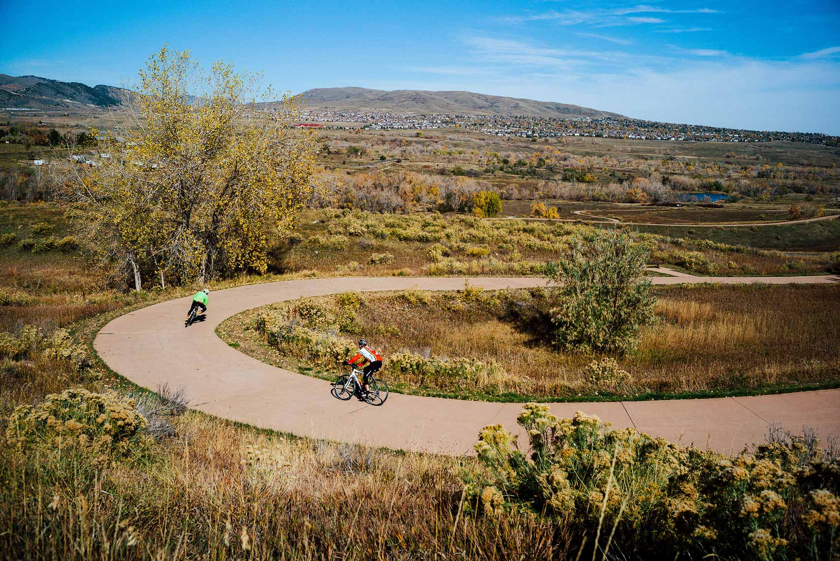 Cyclists in Morrison, CO.